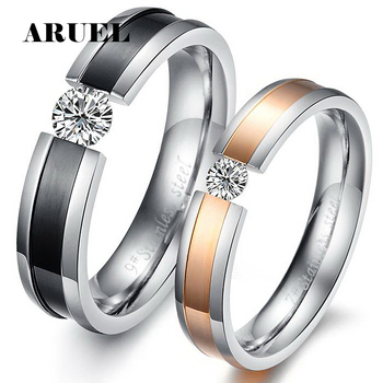ARUEL Romantic Crystal Rose Gold/Black Gun Plated Lovers Rings 316L Women Men Wedding Jewelry Stainless Steel Finger Rings Sets