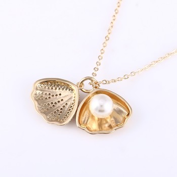 Low Price Exquisite Pendant Inlaid Imitation Pearl Micro Pave CZ Long Chain Campus Girls Simple Jewelry Necklace