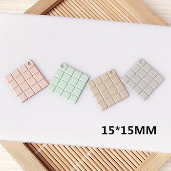 100pcs/lot alloy Spray painting candy color geometry square shape metal charms diy jewelry necklace/earring pendants accessory