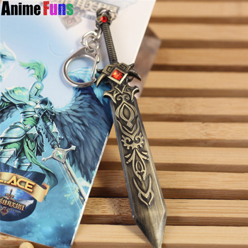 12cm Game League Of Legends Weapon Keyring Death knight Garen LOL Sword Model Pendant Keychain Charm Gift drop-shipping