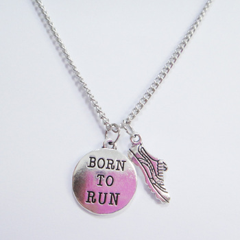 "Run Necklace ""Born to run"" Gym Fitness Runner Gifts 5pcs/lot"