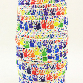 Q&N ribbon wholesale/OEM 5/8inch 16mm 161020010 handprint printed fox folded over elastic FOE for hairbows