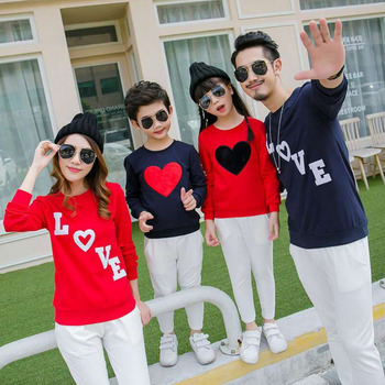 OUTAD New Autumn Winter Family Matching Outfits Korean Style Long Sleeve Round Neck Cotton Heart/Letter Pattern Shirts Clothes